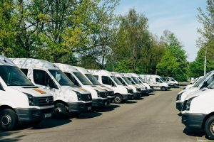 GPS online tracking and fleet of company vans